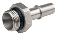 """Click for a larger picture of LT1 Fuel Injection Adapter, -12 Male ORB to 5/8"""" Male QC"""