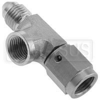 "Click for a larger picture of Brake Pressure Tee, 3AN Female to 3AN Male, Female 1/8"" NPT"