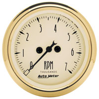 Click for a larger picture of Auto Meter 2 inch Elec Tach, 7000 RPM Golden Oldies Series
