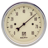 "Click for a larger picture of Auto Meter 3-3/8"" Tachometer- 8K RPM, Antique Beige"