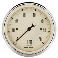 "Click for a larger picture of Auto Meter 3-1/8"" Tachometer- 7K RPM, Antique Beige"