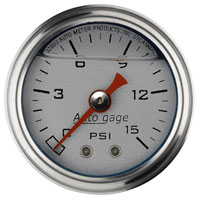 "Click for a larger picture of Auto Meter 1.5"" Mechanical Pressure Gauge, 0-15 PSI, Silver"