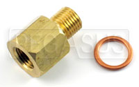 Click for a larger picture of 1/8 NPT Female to M10x1.0 Male Pressure Gauge Adapter, Brass