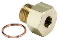 Click for a larger picture of 1/8 NPT Female to M16x1.5 Male Pressure Gauge Adapter, Brass