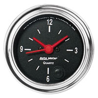 Click for a larger picture of Auto Meter 2 inch Clock, 12-volt, Traditional Chrome