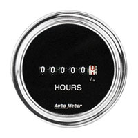 Click for a larger picture of Auto Meter 2 inch Hourmeter, 8 to 32 Volt, Chrome