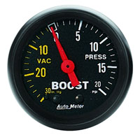 Click for a larger picture of Z Series 2 inch Boost Gauge with 10 foot nylon tubing kit