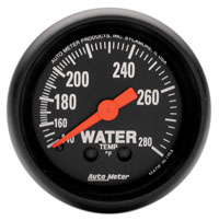 Click for a larger picture of Z Series 2 inch Water Temp Gauge, 140-280 deg, 6 foot
