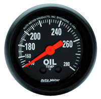 Click for a larger picture of Z Series 2 inch Oil Temp Gauge, 140-280 degree, 6 foot