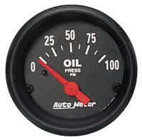 Click for a larger picture of Z Series 2 inch Oil Pressure Gauge, 100psi, Electric