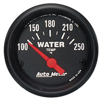 Click for a larger picture of Z Series 2 inch Water Temp Gauge, 100-250 degree, Electric