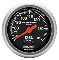 "Click for a larger picture of Sport Comp 2"" Oil Temp Gauge, 60-140C, 6ft"