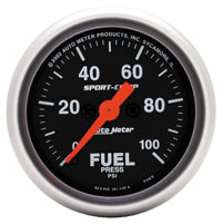 "Click for a larger picture of Sport Comp 2"" Electric Fuel Pressure, 100 psi, Full Sweep"