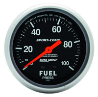 Click for a larger picture of Sport Comp 2 5/8 inch Mechanical Fuel Pressure Gauge, 100psi