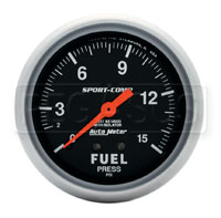 Click for a larger picture of Sport Comp 2 5/8 inch Fuel Pressure Gauge  W/Isolator, 15psi