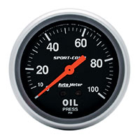 Click for a larger picture of Sport Comp 2 5/8 inch Oil Pressure Gauge, 100psi, 6 ft