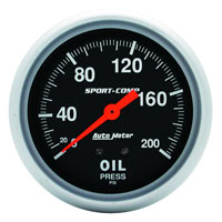 Click for a larger picture of Sport Comp 2 5/8 inch Oil Pressure Gauge, 200psi, 6 ft