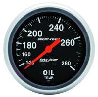 Click for a larger picture of Sport Comp 2 5/8 inch Oil Temp Gauge, 140-280 degree, 6ft