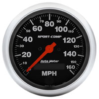 "Click for a larger picture of Sport-Comp 3-3/8"" Speedometer, 160 MPH, Programmable"
