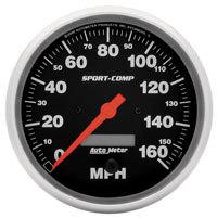 "Click for a larger picture of Sport-Comp 5"" Speedometer, 160 MPH, Programmable"