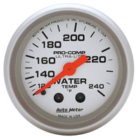 "Click for a larger picture of Ultra Lite 2"" Water Temp Gauge, 120 - 240 F, 12 ft"