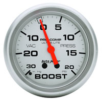 "Click for a larger picture of Ultra Lite 2 5/8"" Boost/Vacuum Gauge, 30 in/Hg - 20psi"