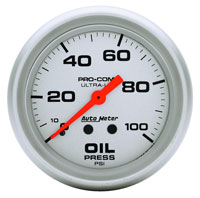 "Click for a larger picture of Ultra Lite 2 5/8"" Oil Pressure Gauge, 100psi, 6 ft"