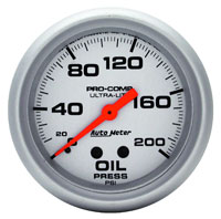 "Click for a larger picture of Ultra Lite 2 5/8"" Oil Pressure Gauge, 200psi,  6 ft"