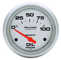"Click for a larger picture of Ultra Lite 2 5/8"" Oil Pressure Gauge, 100psi, Electric"