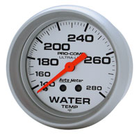"Click for a larger picture of Ultra Lite 2 5/8"" Water Temp Gauge, 140-280 F, 6ft"