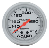 "Click for a larger picture of Ultra Lite 2 5/8"" Water Temp Gauge, 120-240 F, 6ft"