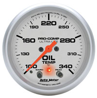 "Click for a larger picture of Ultra Lite 2 5/8"" Oil Temp, 100-340 F, Electric, Peak & Warn"
