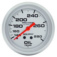 "Click for a larger picture of Ultra Lite 2 5/8"" Oil Temp Gauge, 140-280 F, 6 ft"