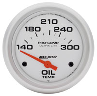 "Click for a larger picture of Ultra Lite 2 5/8"" Oil Temp Gauge, 140-300 F, Electric"