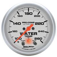 "Click for a larger picture of Ultra Lite 2 5/8"" Water Temp, 100-260F, Electric Peak & Warn"