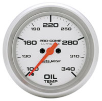 "Click for a larger picture of Ultra Lite 2 5/8"" Oil Temp, 100-340 F, Full Sweep Electric"