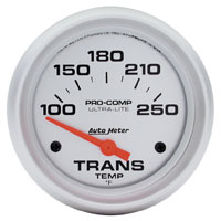 "Click for a larger picture of Ultra Lite 2 5/8"" Trans Temp Gauge, 100-250 F, Electric"