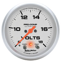 "Click for a larger picture of Ultra Lite 2 5/8"" Voltmeter, Electric, Peak & Warn"