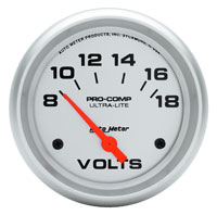 "Click for a larger picture of Ultra Lite 2 5/8"" Voltmeter, Electric"
