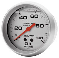 "Click for a larger picture of Ultra-Lite 2-5/8"" Liquid Filled Oil Pressure Gauge, 100 psi"