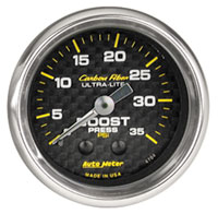 "Click for a larger picture of Auto Meter Carbon Fiber 2"" Boost Gauge, 0-35 psi"