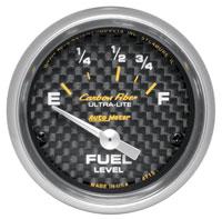 "Click for a larger picture of Auto Meter Carbon Fiber 2"" Fuel Level Gauge, 73 - 10 Ohm"