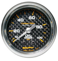 "Click for a larger picture of Auto Meter Carbon Fiber 2"" Oil Pressure Gauge, 100 psi, 6 ft"