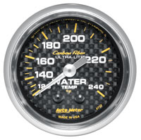 "Click for a larger picture of Auto Meter Carbon Fiber 2"" Water Temp Gauge, 120-240 F, 6 ft"