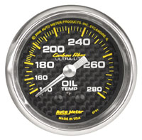 "Click for a larger picture of Auto Meter Carbon Fiber 2"" Oil Temp Gauge, 140-280 F, 6 ft"