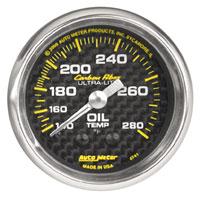 "Click for a larger picture of Auto Meter Carbon Fiber 2"" Oil Temp Gauge, 140-280 F, 6 ft"