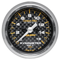 """Click for a larger picture of Auto Meter Carbon Fiber 2"""" Pyrometer Kit, 0-1600 F"""