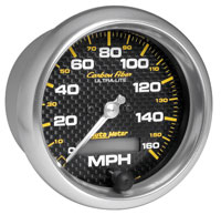 "Click for a larger picture of Auto Meter Carbon Fiber 3-3/8"" Speedometer, 160 mph"