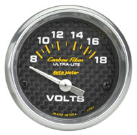 "Click for a larger picture of Auto Meter Carbon Fiber 2"" Voltmeter"