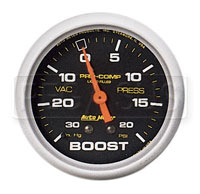 Click for a larger picture of Pro Comp 2 5/8 inch Liquid Filled Boost / Vacuum Gauge